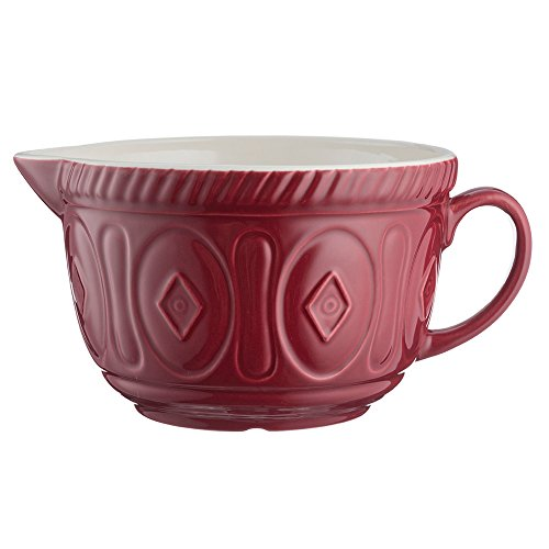 Mason Cash Color Mix Ceramic Batter Bowl; Large Enough to Whisk and Mix Ingredients; Pouring Lip and Handle; 8-Cups/Half Gallon; 10-1/4-Inches by 7-3/4-Inches by 5-Inches; Burgundy ()