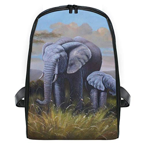 Backpack Oil Painting Wild Elephants Mini Shoulders Bag Classic Lightweight Daypack for Girls/Boys