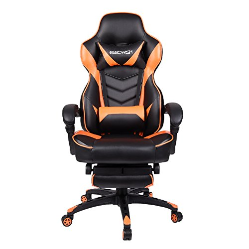 Office Racing Video Gaming Chair Ergonomic Swivel PU Leather Bucket Seat High Back Chair Footrest Padding Lumbar Support Headrest (Orange)