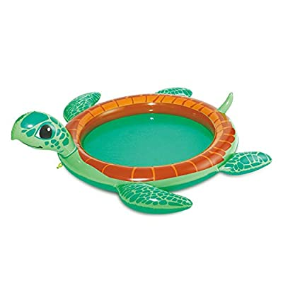 Summer Waves 73.5x78x22 Inch Inflatable Turtle Baby Pool with Water Sprayer: Garden & Outdoor