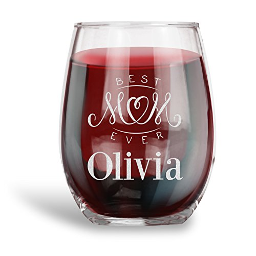 Mother's Day Gifts, Personalized 15 oz. Stemless Wine Glass | Best Mom Ever |Engraved with your NAME, Funny Vintage Ruby Anniversary Gift Ideas