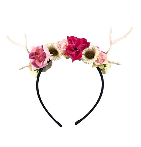 Dreampixie Deer Antler Flower Headband (Black) (Best Homemade Halloween Costumes)