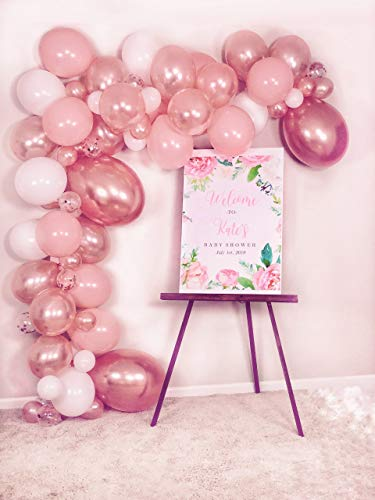 Balloon Garland Arch Kit - Baby Shower/Wedding/Birthday/Graduation/Party/Kitchen/Bachelorette Decorations - Rose Gold/Peach Confetti Balloons Backdrop Decor - Air Pump Included - Indoor/Outdoor ()
