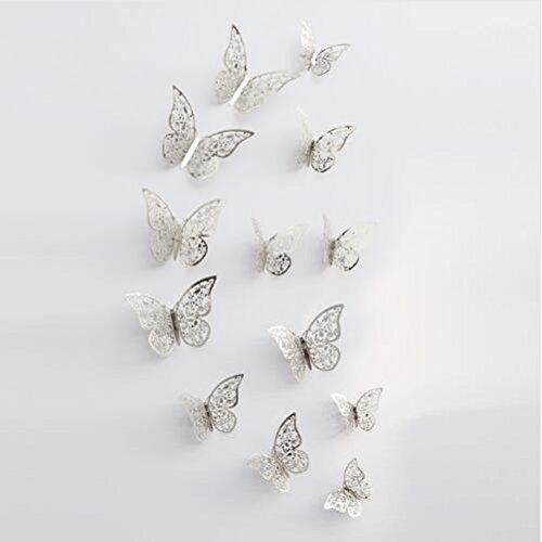 QZT Metallic Sense 12Pcs/Lot 3D PVC Wall Stickers Butterflies Hollow DIY Home Decor Poster Kids Rooms Wall Decoration Party Wedding Sliver C by QZT