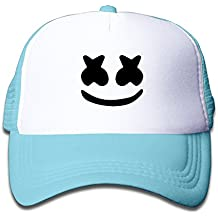 Marshmello Face Toddler Mesh Hat Adjustable Nylon Hats For Kids