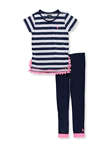 U.S. Polo Assn. Big Girls' Fashion Top and Legging Set, Slit Sides Lace Trim Classic Navy, 10 (Jersey Stripe Polo Bold)