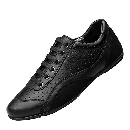 Snowman Lee Men's Leather Lace-Up Summer Breathable Round Toe Quilted Fashion Sneakers Black Shoes Black 11.5 M - Store List Lee Outlets