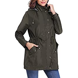 iClosam Women Raincoats Waterproof Rain Jacket Lightweight Hood Lining Jacket Windbreaker