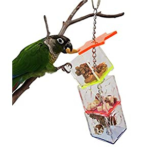 Tropical Chickens Parrot Bird Boredom Buster Forage Box Creative Hanging Treat Foraging Toy Conure Cockatiel Small and Medium Bird Enrichment Transparent Acrylic Food Holder 8