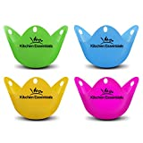 Kitchen Essentials Egg Poacher Cups (4 Pack) for Perfect Poached Eggs – Premium LFGB-Grade Silicone Egg Poachers BPA Free Phthalate-Free Poach Pods, Multicolored Poached Egg Maker Set