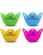 Kitchen Essentials Egg Poacher Cups (4 Pack) for Perfect Poached Eggs – Premium LFGB-Grade Silicone Egg Poachers No Plastic BPA Free Phthalate-Free Poach Pods, Multicolored Poached Egg Maker Set