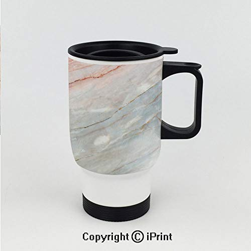 Car Cup Vacuum Insulated Keeps Hot Or Cold,Onyx Stone Textured Natural Featured Authentic Scratches Artful Illustration Decorative,Great for Home and Travel 15 OZ Travel Car Cup