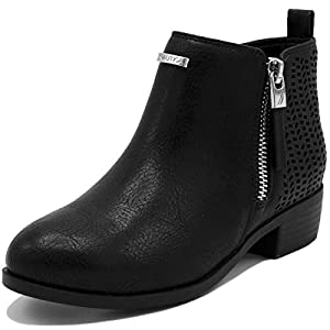 Nautica Kids Girls Youth Ankle Bootie with Side Buckle and Zipper, Dress Boot.