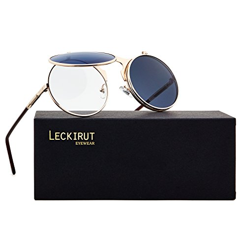 (Leckirut Women Men Round Sunglasses Steampunk Sidestreet Flip-up Mirror Lens Metal Frame Eyewear rose gold frame/gray lens)