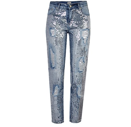 - Recious Womens BF Style Straight Distressed Hole Ripped Sequins Bodycon Trousers Denim Ninth Pants Jeans