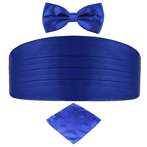 Men's Satin Belt Cummerbund Bow Tie Pocket Square Handkerchief Hanky Set Tuxedo Party (Royal Blue) Royal Blue Cummerbund
