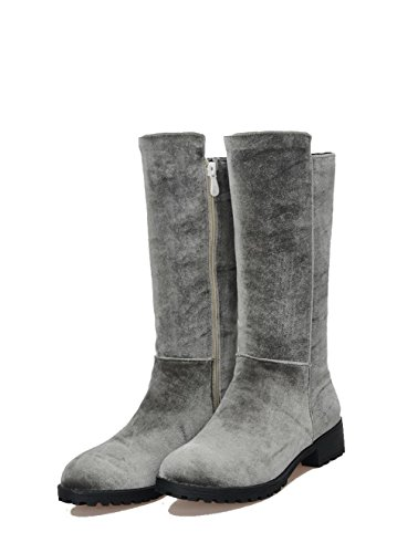 Gray Top Women's Heels Frosted Low Mid Boots Round Toe Closed Allhqfashion Zipper E4Pwq