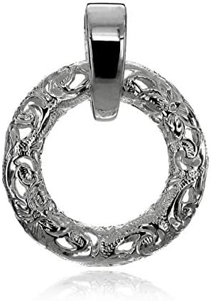 ハワイアンジュエリー サークル スクロール(波)透かし彫り ペンダント ネックレス メンズ シルバー 925 (チェーンなし)