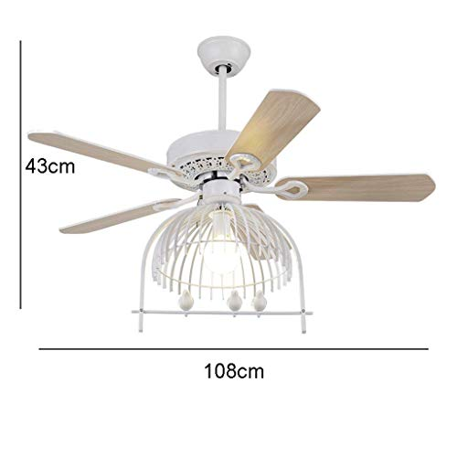 Wood Blade Antique Copper Holder - ChuanHan Ceiling Fan Light Chandelier Lightings 42 54 inch Modern Contemporary Living Room Study Led Antique Wrought Iron Bird Cage Lighting E27 Lamp Holder Ceiling Fan Chandelier Lamp