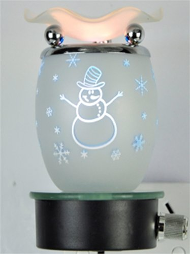 White Snowman Design Decorative Glass Electric Plug-in Fragrance Lamp Aromatherapy Oil Warmer/burner Night Light in Gift Box # Mb63 (Touch Aroma Lamp compare prices)