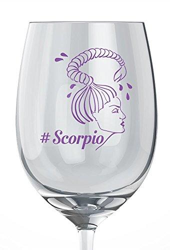 Zodiac Wine Glass featuring #Scorpio Woman Symbol