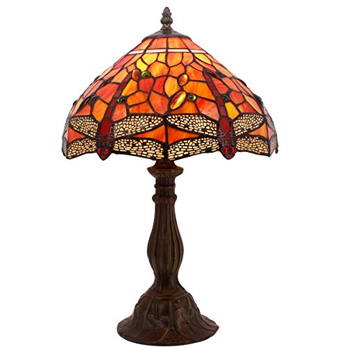 Tiffany Lamp Red Stained Glass and Crystal Bead Dragonfly Style Table Lamps Height 18 Inch for Living Room Antique Desk Beside Bedroom S036 WERFACTORY