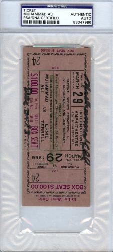 Muhammad Ali Certified Authentic Autographed Signed Ticket #83047986 PSA/DNA Certified Autographed Boxing Tickets