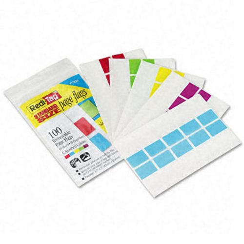 Removable/Reusable Standard Tape Flags, 1-3/4 x 1, Assorted, 100/Pack (RTG77820) Category: Colored Tape - Standard Removable Flags