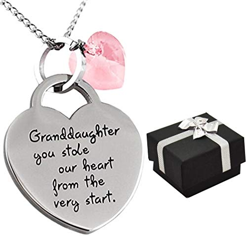 Granddaughter Jewelry Gifts ''Granddaughter You Stole Our Heart'' Keepsake Sentimental Heart Necklace Little Girls, Teens Birthday, Christmas (Lightest ()