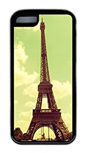 IMARTCASE iPhone 5C Case, Beautiful Retro Vintage Eiffel Tower Paris Durable Case Cover for Apple iPhone 5C TPU Black