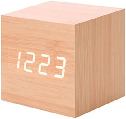 Fashion Modern Wooden Wood Digital LED Desk Alarm Clock Timer Calendar Gift CA