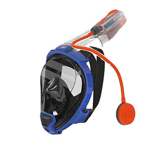 Ocean Reef QR+ Full Face Snorkel Mask and Snorkel Talkie Combo (Blue, L/XL) by Ocean Reef