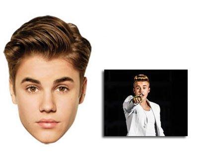 Justin Bieber Karte Partei Gesichtsmasken (Maske) - Enthält 6X4 ...