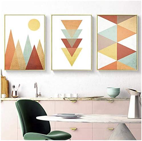 ミニマリスト抽象幾何アートキャンバス絵画プリントポスター北欧アート壁ポスター写真用リビングルーム家の装飾-50x70x3Pcsc