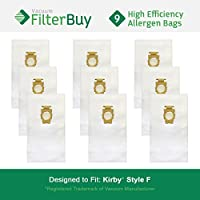 9 FilterBuy Kirby Style F Vacuum Bags. Kirby Universal Vacuum Bags, Kirby Part # 204808. Designed by FilterBuy to fit Kirby Upright Vacuum Cleaners