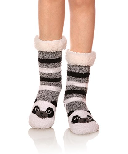 Womens Super Soft Cute Cartoon Animal fuzzy Cozy Non-Slip Winter Slipper Socks -