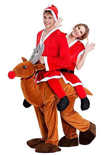 Christmas Piggyback Costumes Funny Carry Ride On Me Shoulder Santa Costumes Fancy Dress -