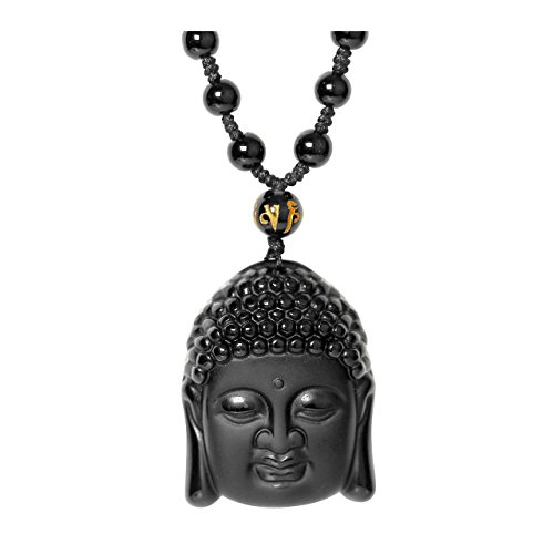 - Jovivi Hand Carved Natural Obsidian Buddha Head Talisman Amulet Pendant Long Bead Chain Necklace