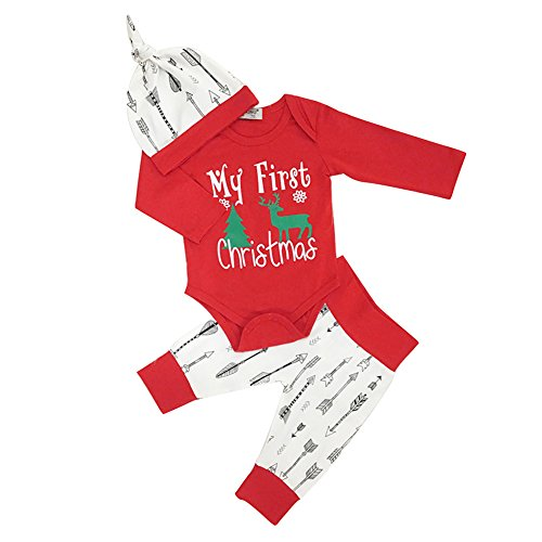 [super1798 4PCs Newborn Baby Christmas Elf Tree Romper + Pants + Hat + Headband Outfit Set - 12-18Months] (Elf Outfit)