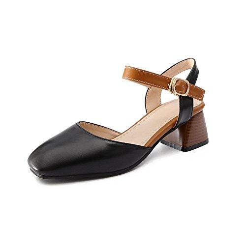 GAOLIM Señor Golpeó El Color Salvaje Fijaciones Ranuradas, Luz De La Hondonada Baotou Sandalias Mujer Con Vacía Después De Los Zapatos De Mujer Negro