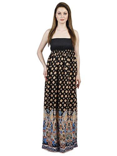 Vestito Arricciato Indietro Stampa spalla Maxi Rayon Con Fuori Nera Hqww08X
