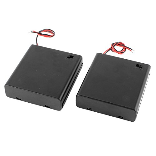 2 Pcs 4 x1.5V AA Battery Holder with On Off Switch Cap Lead Wires (for AA 4 CELL)