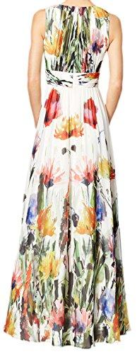 erdbeerloft - Damen Maxi Kleid Sommer Blumen Lang, 34-40, Weiß