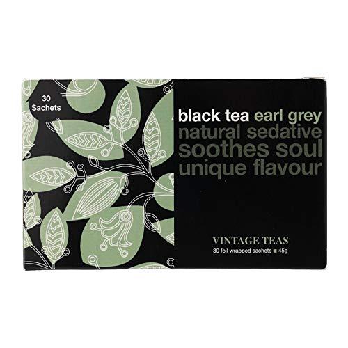 Vintage Teas Brand, Black Tea earl grey natural sedative soothes soul unique flavour, 30 sachets