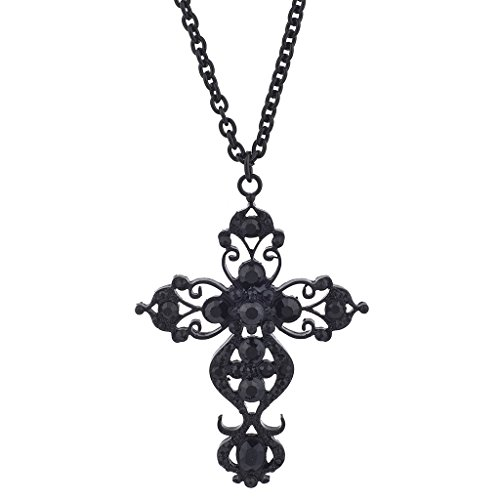 Lux Accessories Black Tone Faux Rhinestone Filigree Cross Pendant Necklace