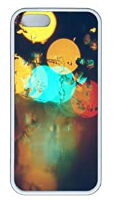 Apple iPhone 5S Cases - Glare Surface Circles Colorful TPU Hard Plastic Case for iPhone 5/5S - White