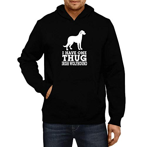 Idakoos I Have one Thug Irish Wolfhound Hoodie L Black