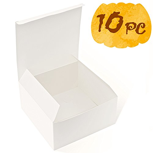MESHA Gift Boxes 10 Pack 8 x 8 x 4 Inches, White Cardboard Gift Boxes with Lids for Gifts, Crafting, Cupcake Boxes