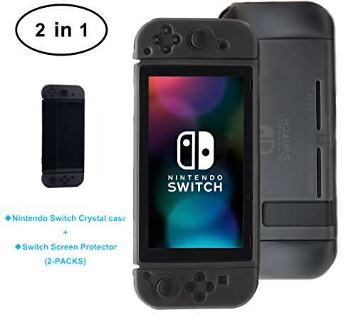 MYDE,HO Nintendo Switch Cover Case,2 In 1 Black Anti-Slip Frosted TPU Cover Case + 2PCS Premium Tempered Glass Screen Protector NS Cover Case Combination New Release