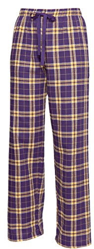 Purple Gold Yellow Check Flannel Tie Cord pants, Unisex Sizes, (Purple Cord Pants)